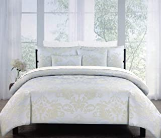 Tahari 3pc Duvet Cover Set Woven Textured Jacquard Damask Medallion Pattern Tan/Beige on Silver Quilt Comforter Cover 100% Cotton Luxury, Belleville Damask (King)