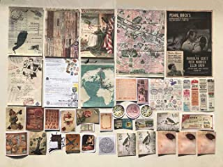 Vintage Aesthetic Memorial Adhesive Handcrafts Washi Sticker Pack   Artsy Antique Paper Decals Supplies (Old Time Travel Crafts Material Set)
