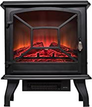 Calentador de estufa eléctrica Hogar con Registro realista Llama de leña Efecto 3D y 2 configuraciones de calor - Portátil De pie Calentador Espacial 1600W - Negro