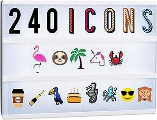 Relaxdays, Multicolor, 6,5 x 3,5 cm Kit 240 Letras para Caja de Luz con Cifras, Emoticonos y Símbolos, Plástico