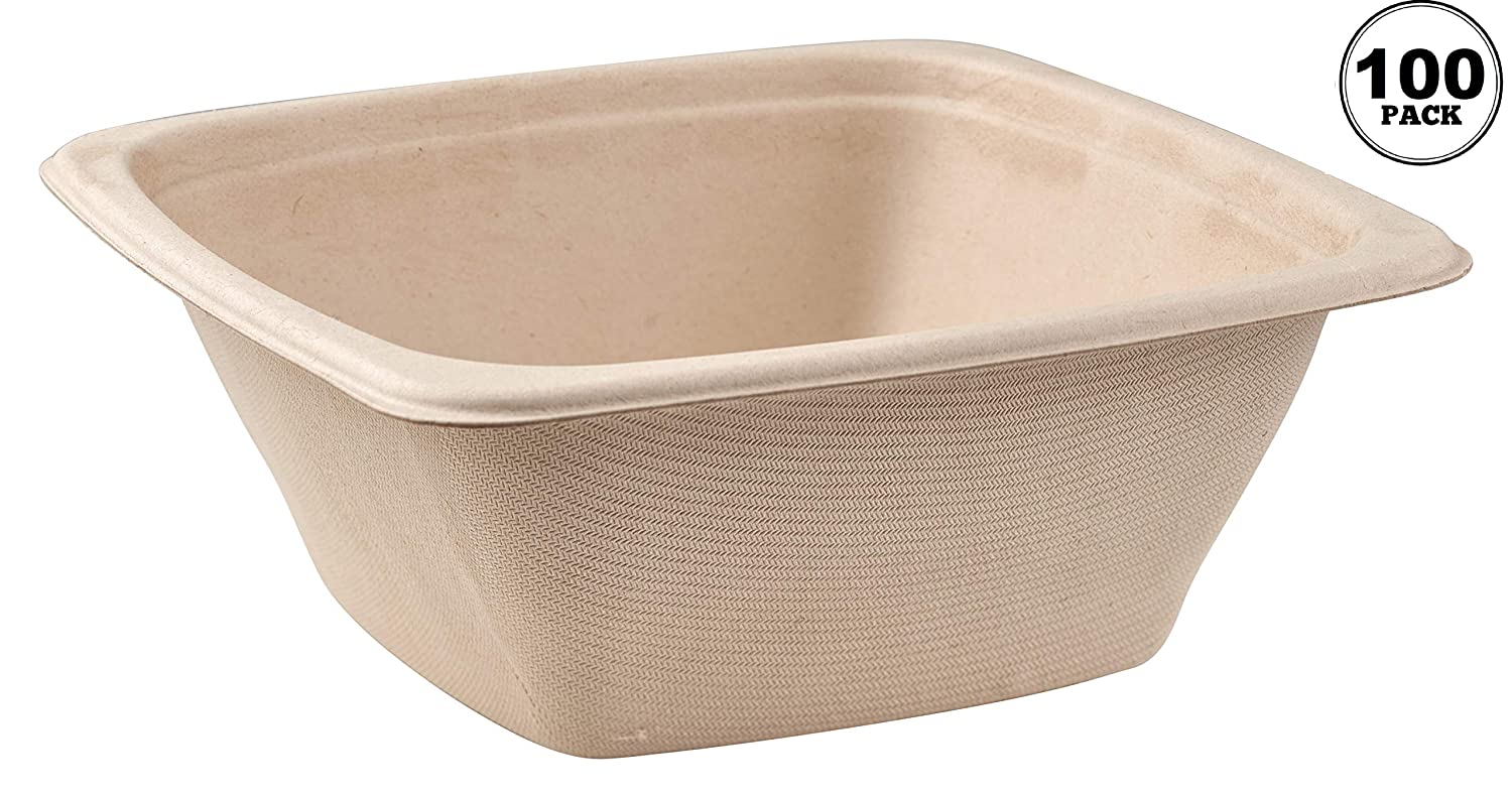 100 Pack 42oz Compostable Square 予約販売品 本物 Container Eco Bowls Friendly
