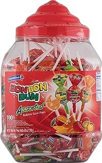 Colombina Bon Bum 100Count Flavors Bubble Gum Pops, 100 Assorted Flavor Lollypops