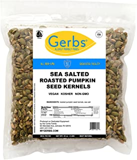 GERBS Sea Salted Pumpkin Seed Kernels, 32 ounce Bag, Roasted, Top 14 Food Allergen Free, Non GMO, Vegan, Keto, Paleo Friendly