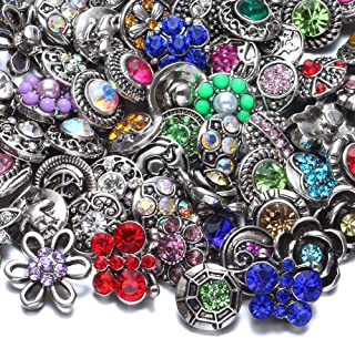 RoyalBeier Mixed Lot Multi Color Rhinestone Metal Button Charms 12mm Snap Button for Snap Jewelry HM008 (20pcs)