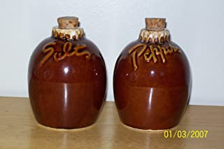 Hull Pottery Mirror Brown Drip Salt and Pepper Shakers