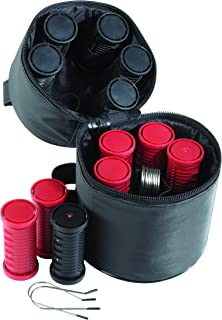 Nicky Clarke Heated 3.5 cm Rollers Compact Travel Set of 12, Ionic Self Grip with Pin Clips and Zip Storage Bag, Black & R...