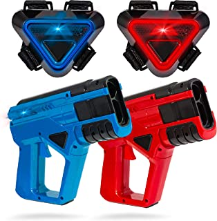 SHARPER IMAGE Two-Player Toy Laser Tag Gun Blaster & Vest Armor Set for Kids, Safe..