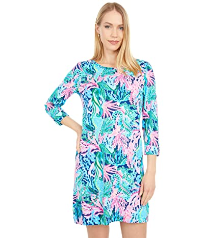 Lilly Pulitzer Linden Dress (High Tide Navy Bringing Mermaid Back) Women