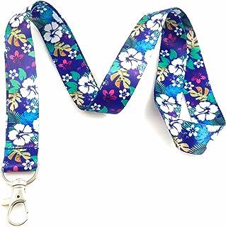 Vacances et voyage sur le thème Lanyard badges d'identification support Hawiian Flowers - Purple/Blue