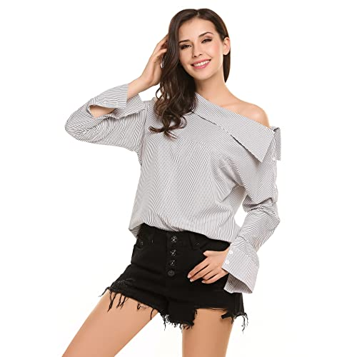 44d4a5e0fc484 Zeagoo Women s Cold Shoulder Striped Blouses Long Sleeve Asymmetric Casual  Loose Shirt Top