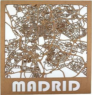 Cuadro mapa poster regalo de madera de Barcelona y Madrid para decoración de pared moderna 50x58 cms. Con fondo blanco o n...