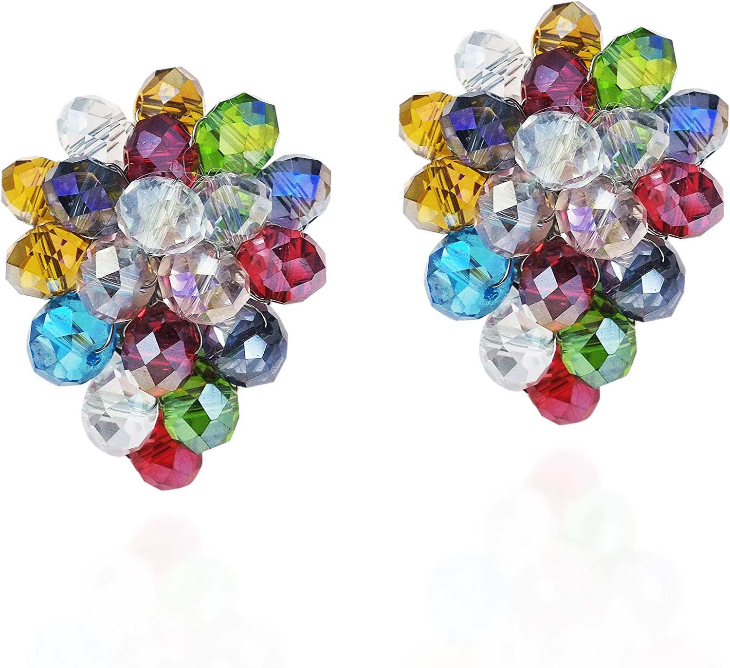 Noticeable Tropical Multicolor Crystals Grape Statement Clip On Earrings
