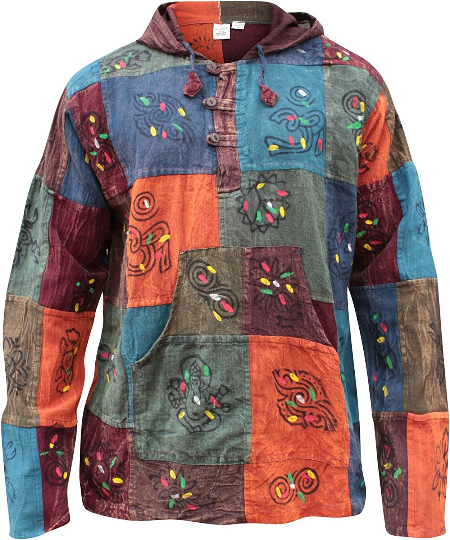 Shopoholic Fashion mit Kapuze steinwäsche Patchwork Blockmuster Opa Hippie Hippie Hippie Hemd B00IGZ0JDO  Youzi Produkte b6357a