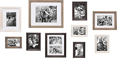 Kate and Laurel Bordeaux Gallery Wall Kit, Set of 10 with Assorted Size Frames in 3 Different Finishes - White Wash, Charcoal Gray, and Rustic Gray