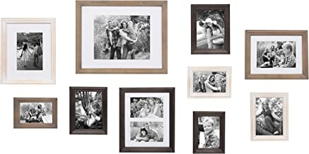 Kate and Laurel Bordeaux 10 Piece Wood Frame Set, White Wash, Charcoal Gray, and Rustic Gray
