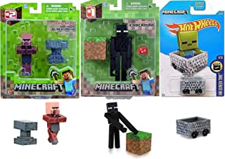 Hot Wheels Overworld Minecart Compatible with Minecraft Car Bundled with Figure Enderman + Villager Blacksmith 3 Items Gam...
