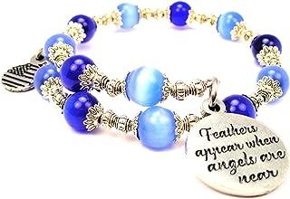 ChubbyChicoCharms Feathers Appear When Angels are Near Cat's Eye Wrap Charm Bracelet in Sapphire Blue