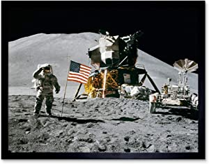 Moon Space Apollo 15 Mission Flag Photo Art Print Framed Poster Wall Decor 12x16 inch