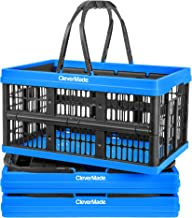 CleverMade Collapsible Plastic Grocery Shopping Baskets: Small Folding Stackable Storage Containers / Bins with Handles, P...