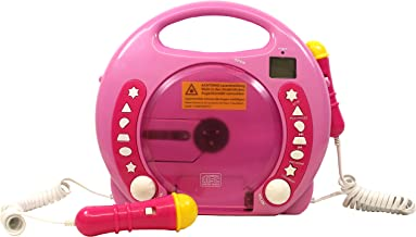 IQ Toys Portable Sing Along CD-USB-SD Player Anti Skip, with 2 Microphones & AC Adapter ( Pink)
