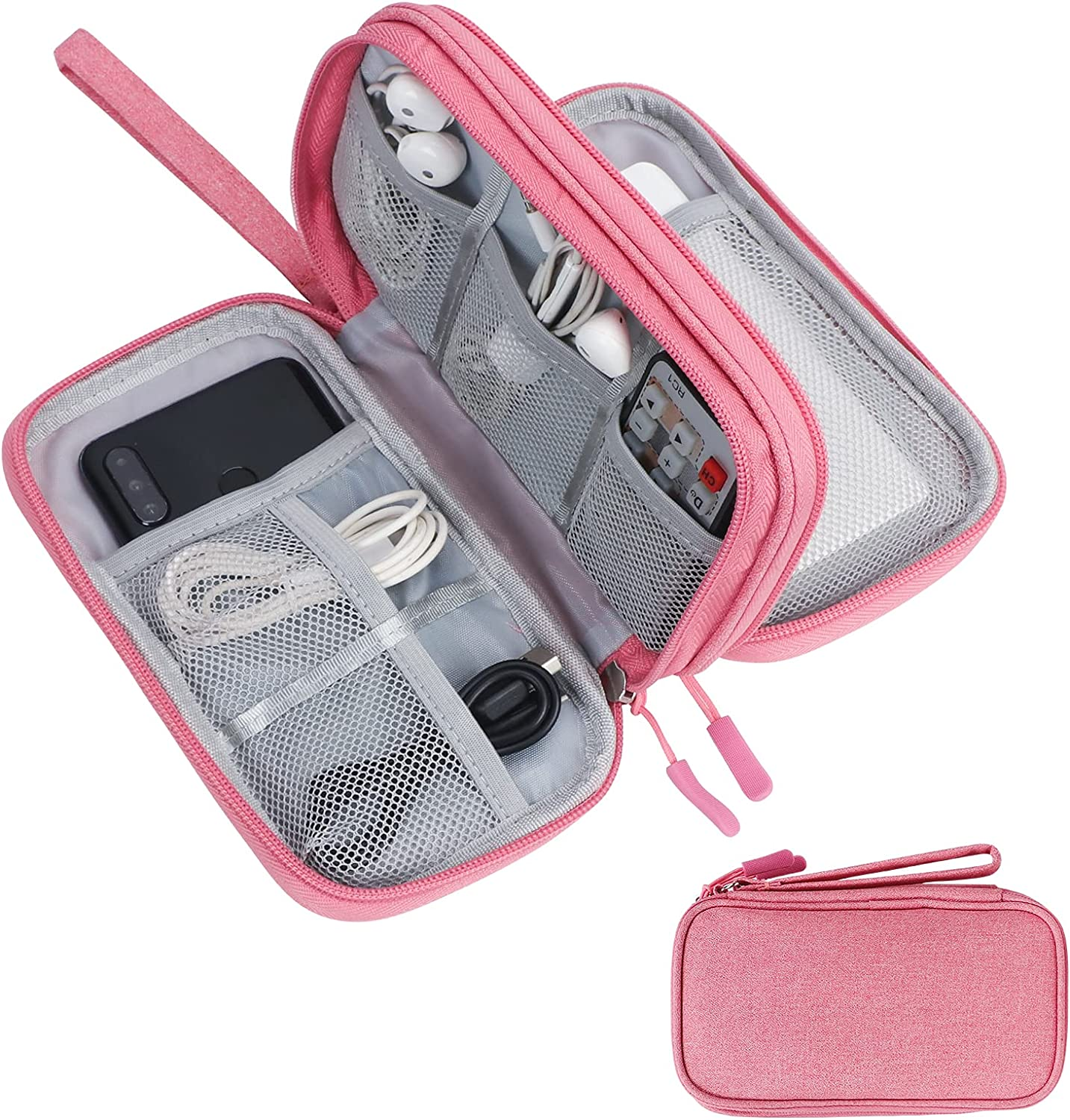 Skycase Travel Cable Organizer,Electronics Accessories Cases, All-in-One Storage Bag,[Waterproof] Accessories Carry Bag for USB Data Cable,Earphone Wire,Power Bank, Phone,Pink