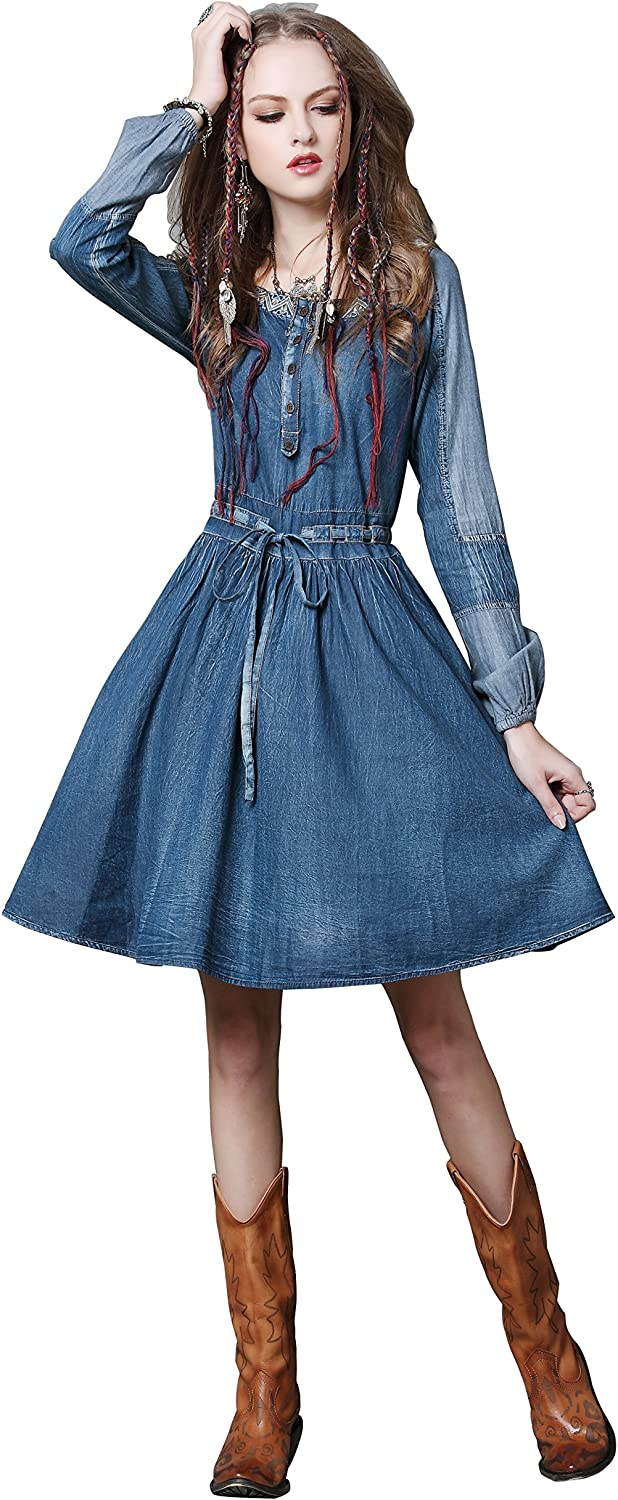 Women's Slim Fit Retro Denim Dress Unique Personality Long Sleeves Belted Flared Dress for Girl