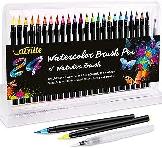 VACNITE 水彩毛筆 カラー筆ペン 24色 48 72色セット 水性筆ペン 水彩ペン 絵描き 塗り絵 アートマーカー 美術用 事務用 画材 子供用画材 収納ケース付き (24色セット)