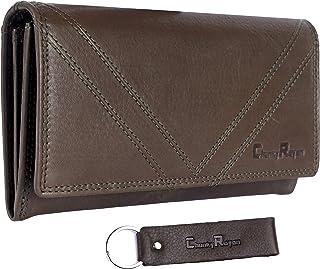 Chunkyrayan Bolsa de Cuero Real para Mujeres Protección RFID Vintage Incluye Llavero de Cuero GB-8 Green