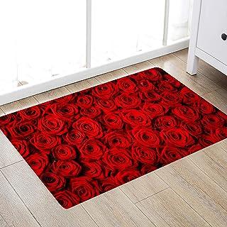 Red Rose Flower Print 17MM Thick Memory Foam Bathroom...