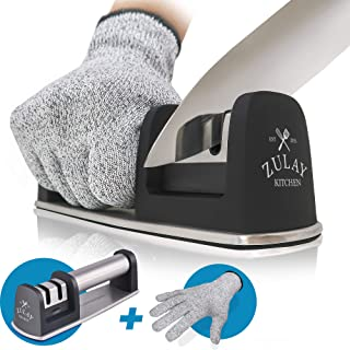 Zulay Kitchen Knife Sharpener & Cut-Resistant Glove | 2-Stage Knife Sharpening Tool..