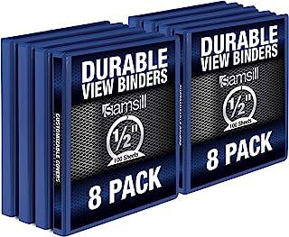 Samsill Durable .5 Inch Binder / Blue Round Ring Binder / Customizable Clear View Binder / Bulk Binder 8 Pack / Blue 3 Rin...