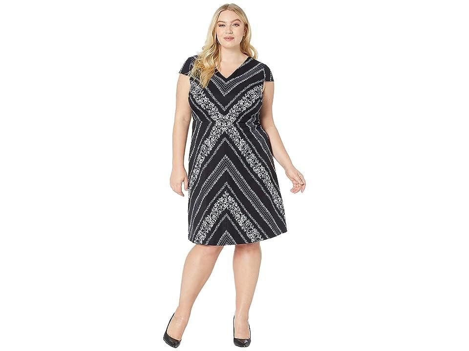 Adrianna Papell Plus Size Botanical Chevron Fit Flare Dress (Black/Ivory Multi) Women