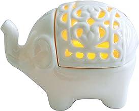 Decorative White Elephant Openwork Design Ceramic Tea Light Candleholder - MyGift