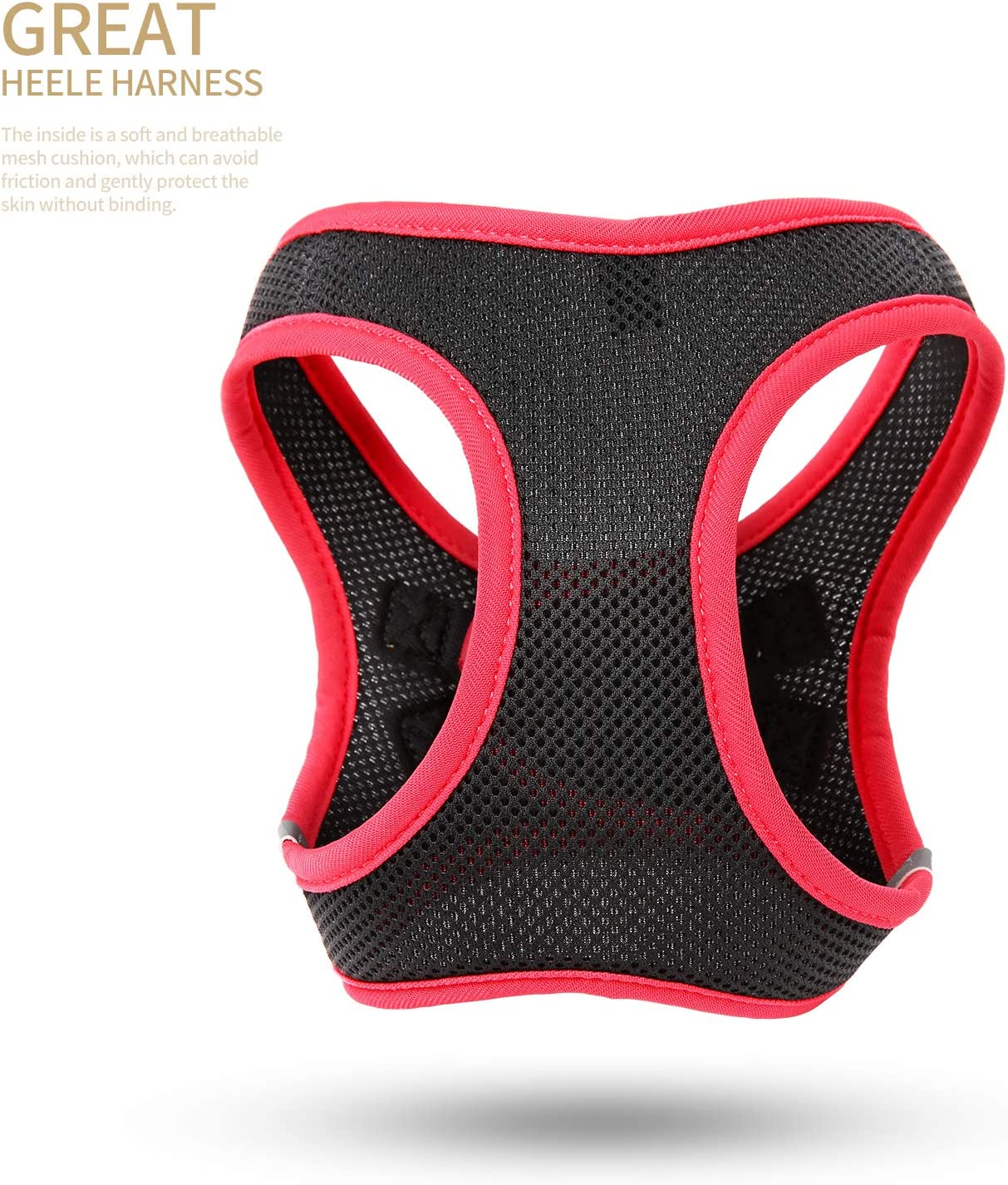 Black 2XS HEELE Soft Mesh Dog Cat Harnesses Lightweight Reflective Padded Vest Harnesses for Small Puppy Pet Animal