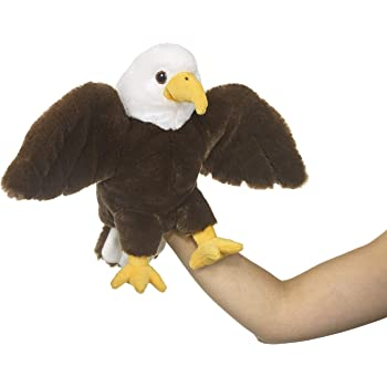 """Eco Pals Bald Eagle Puppet by Wildlife Artists, Stuffed Animal Plush Toy Puppet 10"""", Eco-Friendly, Embroidered Eyes and Noses, Made from 100% Post-Consumer and Recycled Materials"""
