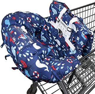 Shopping Cart Cover for Baby- 2-in-1 - Foldable Portable Seat with Bag for Infant to Toddler - Compatible with Grocery Cart Seat and High Chair - Includes Free Carry Bag (Blue Whale)