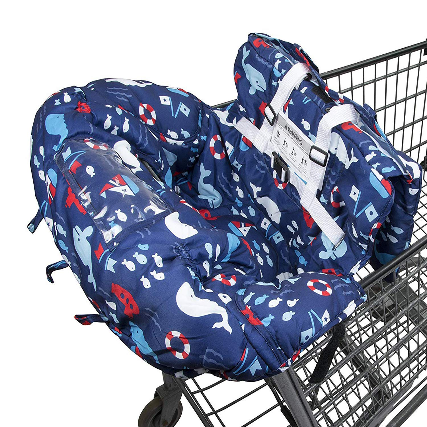 Shopping Cart Cover for Baby- 2-in-1 - Foldable Portable Seat with Bag for Infant to Toddler - Compatible with Grocery Cart Seat and High Chair - Blue Whale