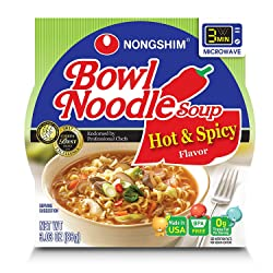 Nong Shim Bowl Noodle Soup, Spicy, 3.03 Oz
