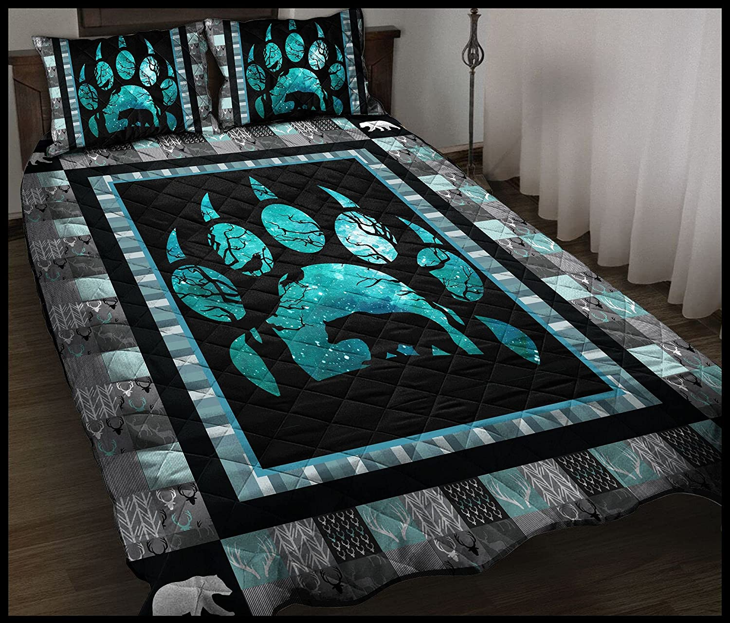 Bear Pawprint T284 Quilt Bedset Max 82% OFF - Washington Mall All Seas for Suitable