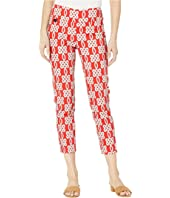 Maritime Print Pull-On Ankle Pants with Back Slits