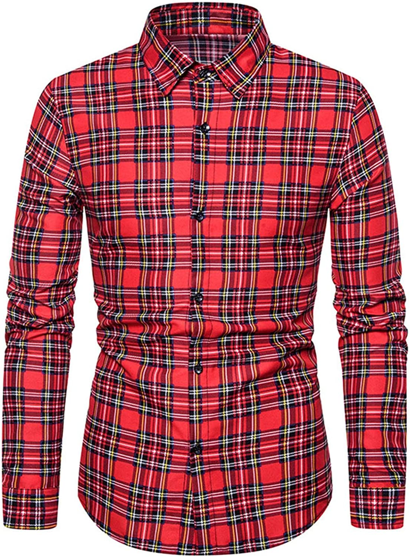 XUNFUN Men's Button Down Plaid Shirts Regular Fit Long Sleeve Slim Fit Casual Work Dress Shirt Tops Blouse