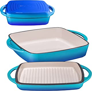 """Enameled Cast Iron Square Casserole Baker With Griddle Lid 2 in 1 Multi Baker Dish 10"""" (Caribbean)"""