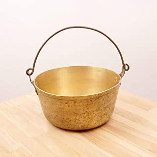 Restored by UKARETRO Boiler Pot/Kettle/Bucket/Pail/Cauldron || Vintage Solid Brass with cast Iron Handle || Handle || Large and Heavy