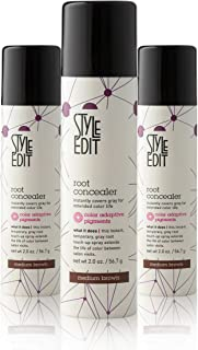 Style Edit Root Concealer Touch Up Spray | Instantly Covers Grey Roots | Professional Salon Quality Cover Up Hair Products for Women | Medium Brown 2 Ounce (Pack of 3)