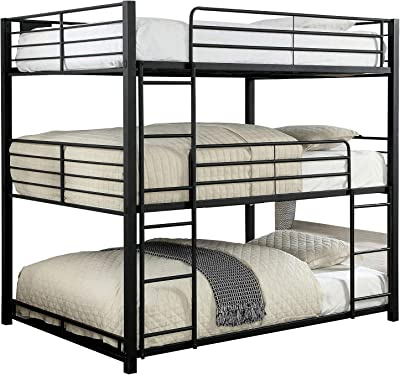 Benjara Industrial Style Full Triple Decker Bunk Bed with Ladder, Black