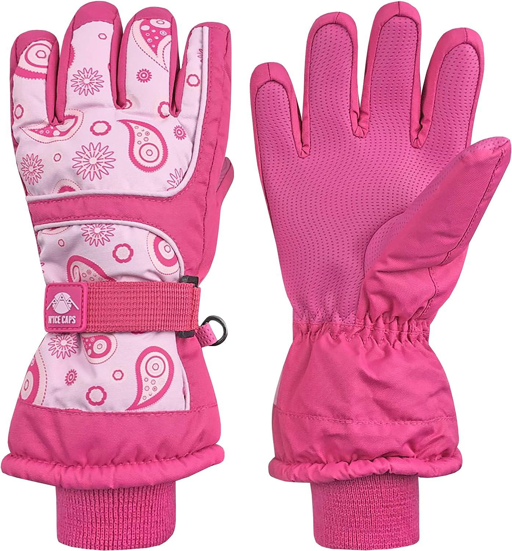 NIce Caps Kids Scroll Print Thinsulate Waterproof Snowboarder Winter Gloves
