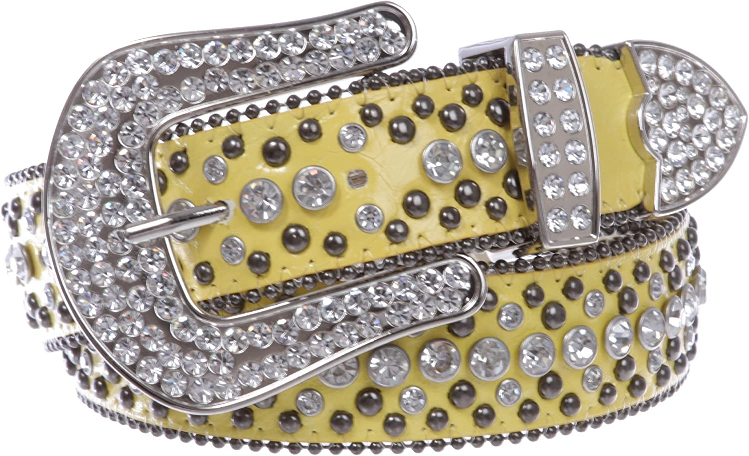 1 1 2  Women's Snap On Rhinestone and Gun Metal color Circle Studded Leather Belt, Yellow   M L  35