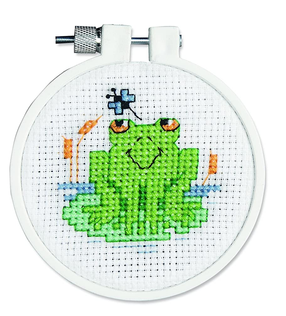 Janlynn 21-0985 Round Kid Stitch Soggy Froggy Mini Counted Cross Stitch Kit, 3-Inch