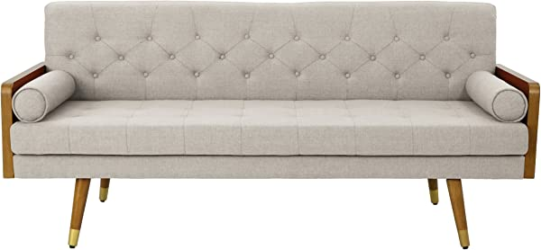 Christopher Knight Home 305140 Aidan Mid Century Modern Tufted Fabric Sofa Beige