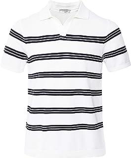Circolo 1901 Men's Knitted Striped Riviera Polo Shirt White